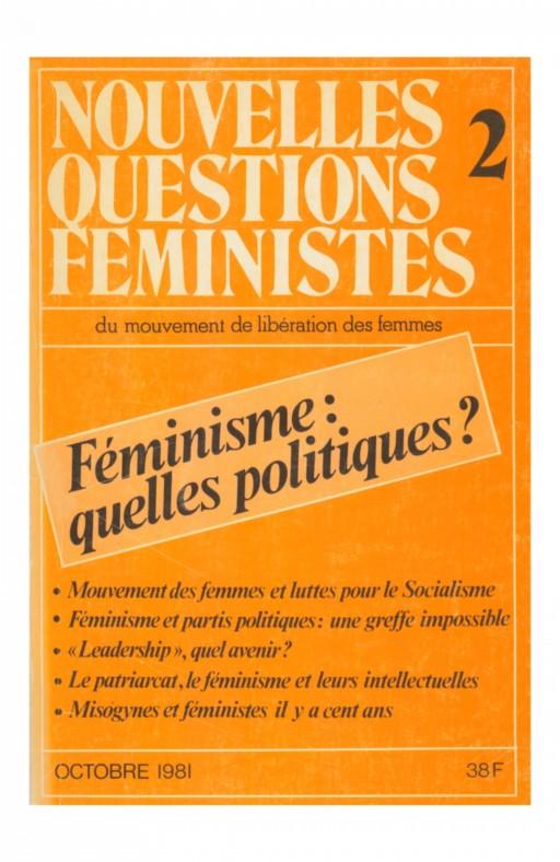 Nouvelles questions feministes Féminisme: quelles politiques?